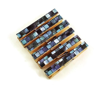 Decorative  Wooden Clothespins  Funky Clips Magnetic Clothespins in  Tranquil Tiles