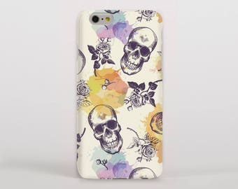 Skulls and Roses with Watercolour Accents Hipster Phone Case/Cover for iPhone Case/Cover or Samsung Phone Case/Cover - FREE UK DELIVERY