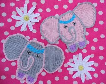 "PATTERN!!! Crochet appliques ""Baby-Elephants"" instant download PDF-file"