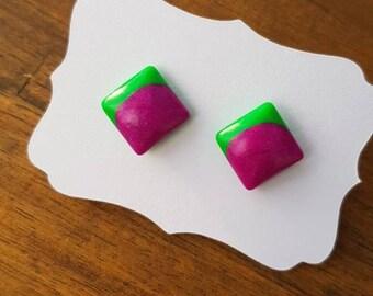 Green and purple studs, handmade clay earrings