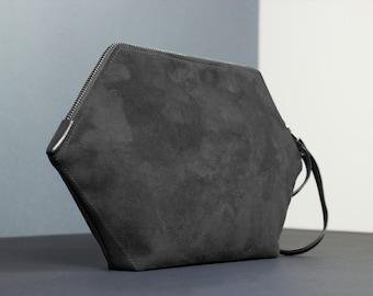 Vegan purse, hexagon little bag, black clutch, minimalist handbag