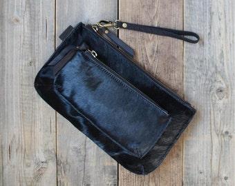 Black calf hair leather clutch  purse evening bag small bag cow hair clutch two zipper clutch stylish wallet