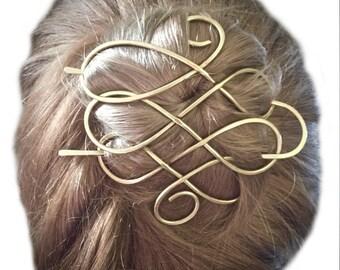 Celtic Hair Barrette Brass Hair Bun Holder Hair Clip Brass Hair Pin Gold Hair Fork Long Hair Holder, Gift Women