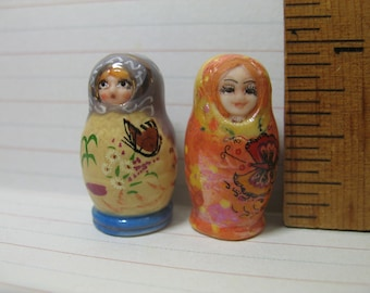 Colorful Russian MATRYOSHKA Dolls Doll Pair Russia Nesting -  French Feve Feves Porcelain Figurines King Cake Baby Doll  Miniatures Q201