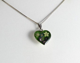 Acrylic Flower Heart Sterling Silver Necklace 18 inch chain
