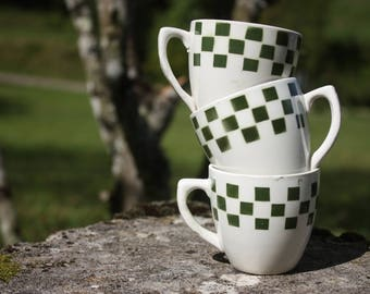 Set of 3 cups coffee style bistro - Vintage - Made in France.