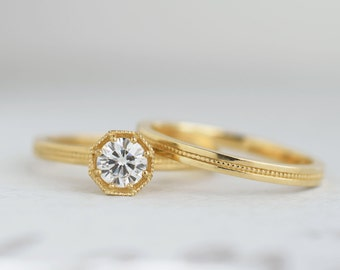 Half Carat Diamond Art Deco Engagement Ring   .50 carat Canadian Diamond Solitaire   Octagon Prong Setting   14k 18k Yellow Gold