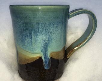 Mugs drippy blue ocean glaze