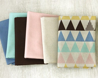Cotton Linen Pastel Triangles and Coordinating Solids - Geometric - By the Yard 41307 - 294
