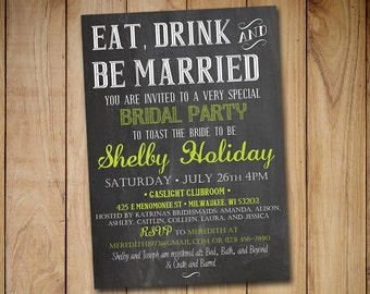 "Chalkboard Bridal Shower Invitation - ""Eat Drink and Be Married"" Lime Green Chalkboard Wedding Shower Template - DIY Wedding"