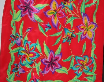 Bright Red 100% Silk Scarf with Green & Purple Floral - 33x33""