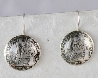 1937 French Indo-China Silver Coin Earring