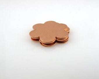 """Cale - Copper Stamping Blank 6-Petal Flower Personalized Jewelry 1"""" Round 24 Gauge Qty. 6"""