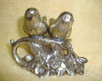 Pair of Nesting Silver Bird Salt and Pepper Shakers