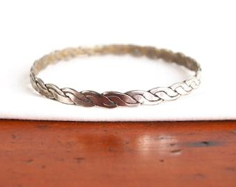 Braided Alpaca Bangle Bracelet Vintage Mexican Jewelry Size 7 .75 Medium Stacking Jewelry Stackable Boho