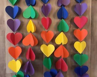 rainbow heart garland/birthday party/rainbow heart bunting/rainbow party decorations/playroom decor/baby shower decoratioins