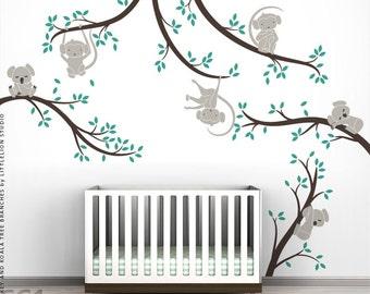 Monkey and Koala Tree Branches Wall Decal Bundle by LittleLion Studio