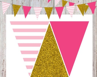 Pink and Gold Glitter Flag Banner/Bunting Banner (INSTANT DOWNLOAD)