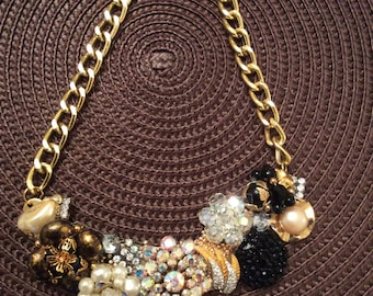 Vintage Statement Necklace Featuring Brooch and Earrings