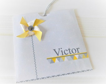 Share mill in grey, white and yellow - customizable wind for baptism, communion, wedding...