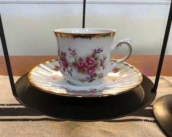 Vintage Porcelain Kronester Bavaria Tea Cup with Roses and Gold Edging