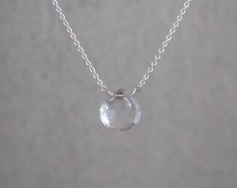 Clear Quartz Necklace - Sterling Silver or Gold Filled - Natural Clear Quartz - April Birthstone Necklace - Faceted Heart Quartz Necklace