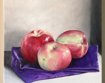 Three Apples 12 inch painting Original Still Life Apple Art Kitchen Decor Oil on Canvas Food Art Kitchen Art Red Apple Canvas Small Paint