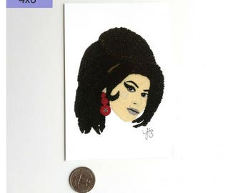 Amy Winehouse Art Print, Wall Art Print, Celebrity Art Print, Women's Art Print, Winehouse Art, Beadwork Art Print, Amy Winehouse Fine Art