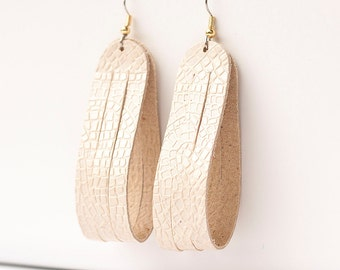 Leather Earrings / Sliced Leather / Mosaic Cream