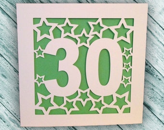 Papercut - 50th, 1st, 40th, 100th, 18th, 21st Birthday or Anniversary Card