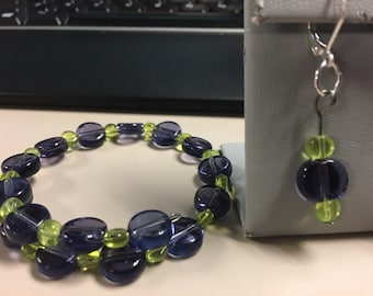 Green and purple bracelet and earring set