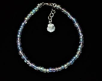 Ankle Bracelet Iridescent Shell, Shell Anklet, Beaded Anklet, Iridescent Bead Anklet