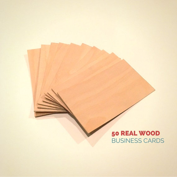 Wood business cards set of 50 blank wood cards wood tags reheart Images