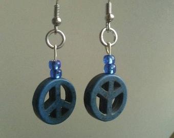 Blue Peace Sign Drop Earrings