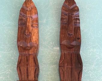 Large vintage carved wood fork and spoon salad serving tiki set