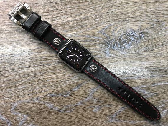 Apple Watch Band, Apple Watch Strap, Black, Leather Watch Band, , iwatch, apple watch 38mm, Apple Watch 42mm, FREE SHIPPING