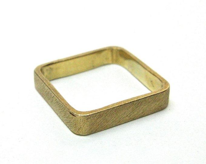 Solid 14k Gold Square Wedding Ring Brushed finish