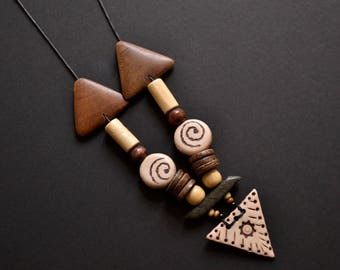 Spiral beige brown textured polymer clay necklace
