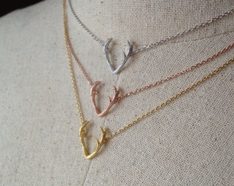 Antler Necklace, 14k Gold plated/Rose Gold/Silver, Dainty Necklace