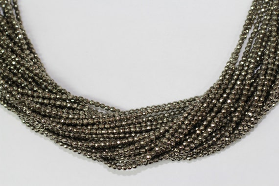 """Gold Pyrite 3mm faceted round beads 16"""" length full strand"""