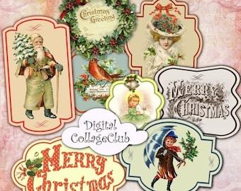 80% Off Spring Sale Vintage Christmas Digital Labels Embellishments Digital Christmas Scrapbooking Paper Craft Supplies Instant Download