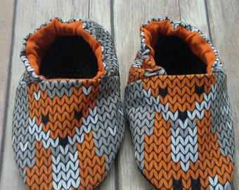 Baby & Toddler Shoe. Soft Sole. Reversible. Faux Sweater Print Fox