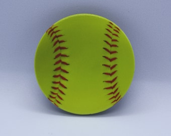 Softball Pop Grip Socket Cap - Yellow Ball Red Laces Mobile Tablet Phone Stand