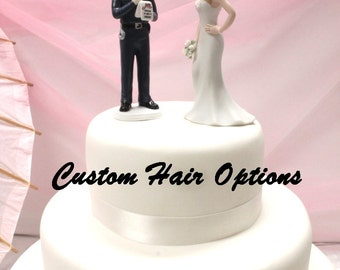 Police Officer Wedding Cake Topper - Personalized - Policeman Groom and Bride - Police - Police Officer - Wedding Cake Topper - Cake Topper