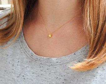 Small vermeil tiny star necklace, minimalist small tinny star charm necklace, everyday gift vermeil charm necklace, elegant necklace 153