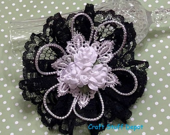 Handmade Flower, Black Lace, Rosette Embellishment, Package Topper, Hair Ornament, Brooch, Trim, Book Cover, Headband, Home Decor