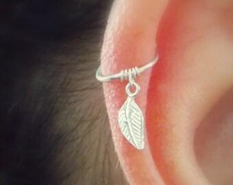 Cartilage hoop Earring, tiny leaf silver hoop,silver tiny hoop