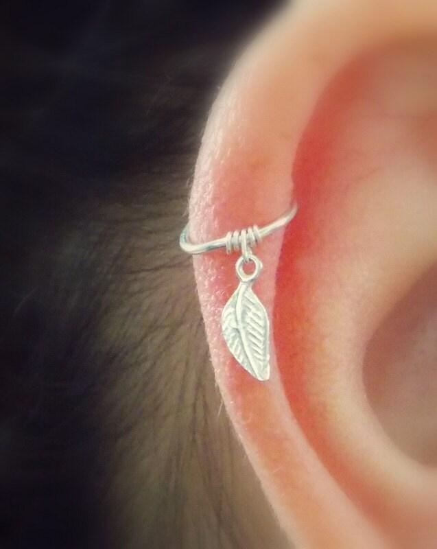 cartilage hoop earring tiny leaf silver hoopsilver tiny hoop
