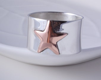 Silver copper star ring sterling silver and copper star ring handmade choose your size custom made to order 925