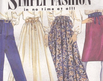 ON SALE 1990's Sewing Pattern - Simplicity 7021 Skirt, Pants Belt  Size 6-14 Uncut and factory folded